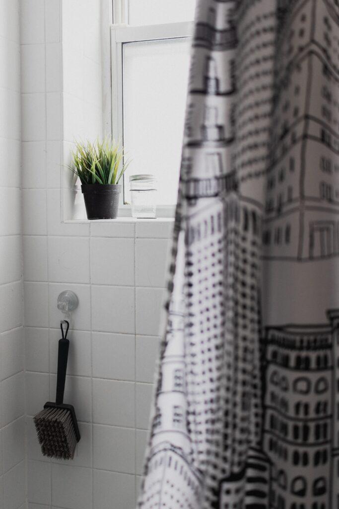 Shower tile and brush